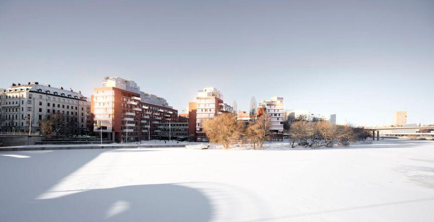 Idébild för påbyggnad av Tekniska nämndhuset. Källa: Stockholms stad.