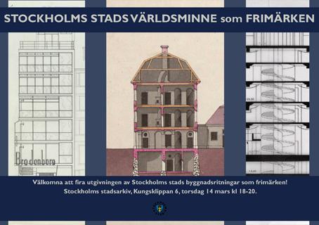 Stockholms byggnadsritningar har blivit världsminne - och frimärken.