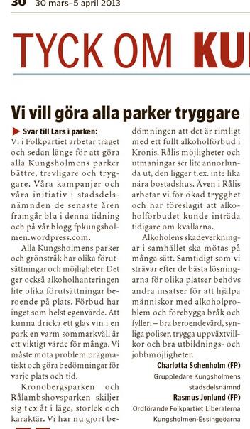 Svar om trygga parker i Vårt Kungsholmen 30 mars 2013.