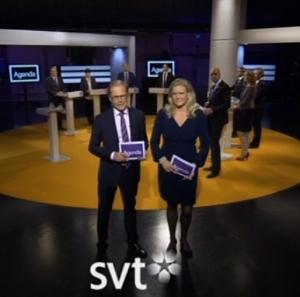 Egenhändigt foto av öppningsscenen i gårdagens partiledardebatt.