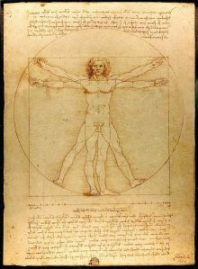 Den vitruvianske mannen av renässansmänniskan Leonardo da Vinci. Foto från Wikimedia, Luc Viatour / www.Lucnix.be