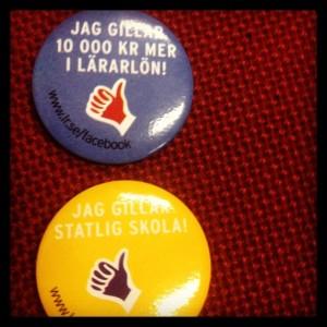 STÖD FÖR STATLIG SKOLA. Lärarnas riksförbund drev kampanj på Folkpartiets landsmöte - fast både folkpartisterna och folket är redan övertygade. Foto: Birgitta Ohlsson.