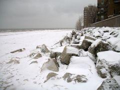 Kallt, blåsigt och snöigt - vinter i Chicago.