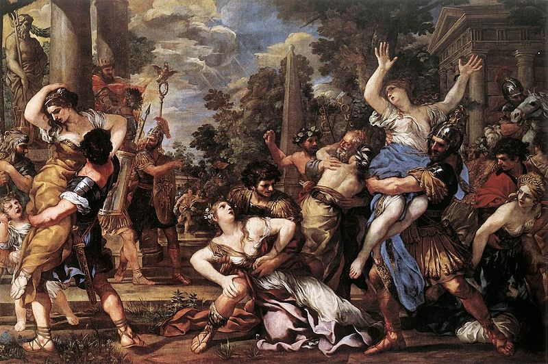 Sabinskornas bortrövande - på engelska The Rape of the Sabine Women, av Pietro da Cortona (1596-1669). Kapitolinska museet, via Wikimedia.