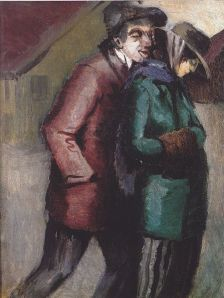"""Tvingad till prostitution"", målning av norrmannen Aksel Waldemar Johannessen, 1915."