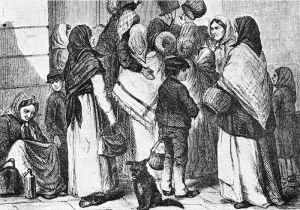 """Från en annan tids Stockholm - """"Tiggare vid Operakällaren"""", från Julius Ejdestams """"De fattigas Sverige"""", 1868, via Wikimedia."""