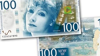 Minst 200 kronor mer får de flesta svenskar behålla av lönen i slutet av januari 2014. (De nya sedlarna med bl.a. Greta Garbo kommer 2015 - foto från riksbanken.se).