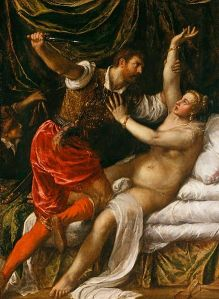 Våldtäkten på Lucretia. Oljemålningen Tarquinius och Lucretia av Tizian, 1571.