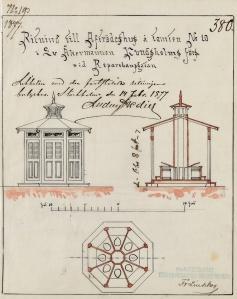 Ritning för avträde från 1877. Ur världsminnet, Stockholms byggnadsritningar.