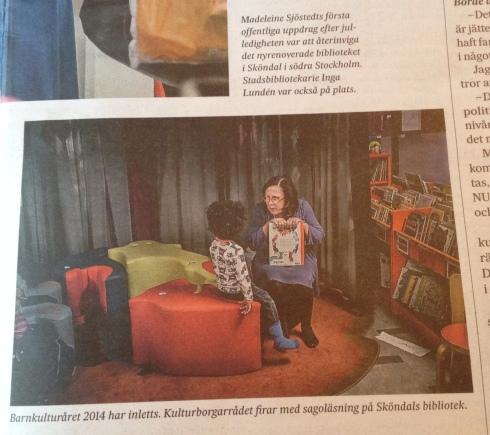 Madeleine Sjöstedt i stort reportage av Karin Eriksson i SvD 26 januari. Fotograf Magnus Hjalmarson Neideman.