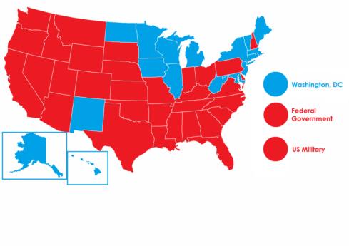 32 amerikanska delstater har kvar dödsstraffet (rödfärgade). Karta från Wikimedia, Frenzie23.
