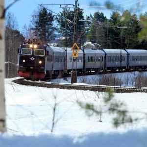 SJ InterCity i vintertrafik. Foto från SJ:s presstjänst, fotograf Stefan Nilsson.