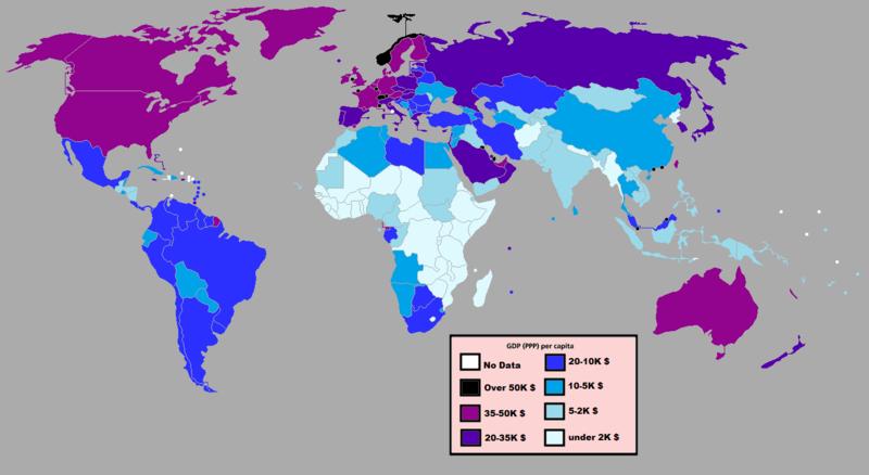Världens länder efter BNP/capita, 2011. Bild från Wikimedia/Quandapanda, med data från Världsbanken kompletterade med IMF och CIA.
