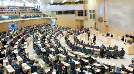 Från en tidigare partiledardebatt. Bild från riksdagen.se