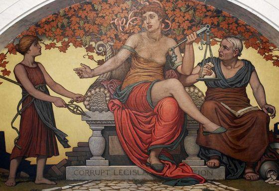 """KORRUPT LAGSTIFTNING - """"Corrupt Legislation"""" är en muralmålning av Elihu Vedder i lobbyn till kongressbiblioteket i Washington."""