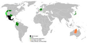 LAGLIG DÖDSHJÄLP. Länder där eutanasi är tillåtet (2008). Från Wikimedia/Jrockley.