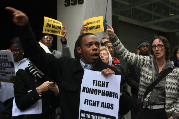 HOMOPROTEST. Demonstrationer mot Ugandas antigay-lagstiftning är inget nytt. Här i New York 2009. Bild Wikimedia/riekhavoc.