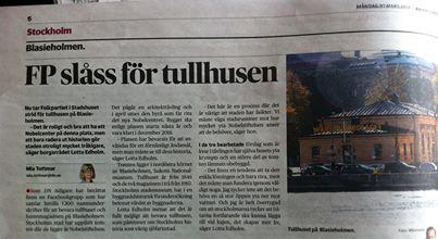 FOLKPARTIET TAR STRID. Lotta Edholm berättar i dagens DN varför Tullhusens bevarande inte behöver stå i strid med att bygga det nya Nobelcentret.