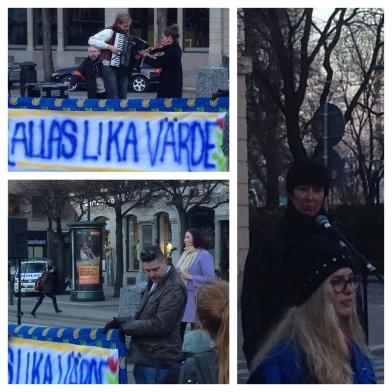 LIKA VÄRDA. Folkmusiker mot rasism, demokratiminister Birgitta Ohlsson och förra S-ledaren Mona Sahlin hörde till talarna. I bilden till höger också Liberala Ungdomsförbundets ordförande Linda Nordlund.