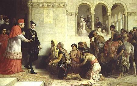 FÖRFÖLJELSENS HISTORIA. I hela västvärlden har romer mötts av diskriminering, och inte tillåtits rota sig. De utvisades regelbundet från många länder. I samband med Granadas fall och de katolska monarkerna Isabellas och Ferdinands seger över de muslimska morerna stundade också hårdare tider för judar och romer. Utvisningen av zigenarna från Spanien, historiemålning från 1872 av Edwin Longsden Long.