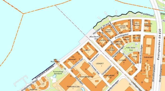 BÖR BLI BAD. Folkpartiet vill att båda de streckade sträckorna blir officiella bad, både Kristinebergs Strand till vänster och Hornsbergs Strand till höger.