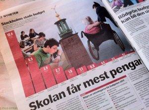 SATSAR VIDARE. Skolan och övriga välfärden har fått ta del av stora satsningar både i Sverige och Stockholm under de senaste åtta åren. Så även 2015. Bilden på DN från 2010 lånad från lottaedholm.wordpress.com
