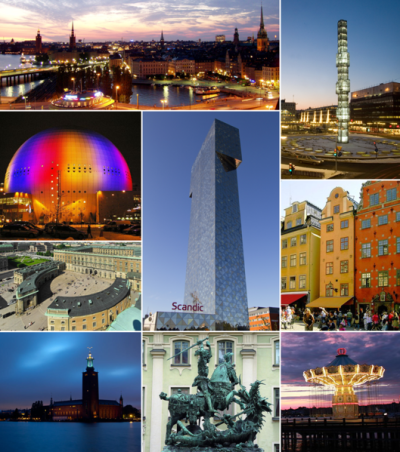 MÅNGSIDIGT. Några av Stockholms alla sidor, montage Wikimedia.