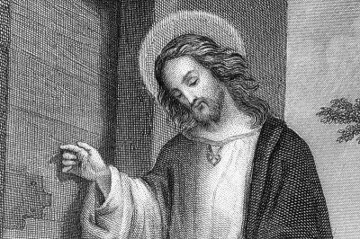 KÄRLEKENS BUDBÄRARE? Jesus från Nasaret, detalj av tysk stålgravering från 1800-talet.