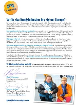 KUNGSHOLMEN I EUROPA. Brev till Kungsholmsborna. Klicka för att se större bild!