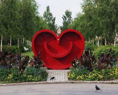 EUROPEISK KULTUR. Det leende hjärtat är Umeås symbol som kulturhuvudstad 2014. Bild Jopparn/Wikimedia.