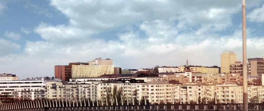 NYBYGGNAD. Här syns den planerade utbyggnaden av själva akutsjukhuset från Västerbron. Tanken är att bakom sjukhusbyggnaden, sett från detta perspektiv, också bygga ett helt nytt Psykiatrins hus.