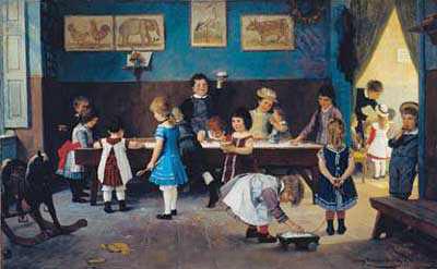 FÖRSKOLANS FÖREGÅNGARE. En tysk kindergarten omkring år 1900. Målning av Hugo Oehmichen, foto från Wikimedia.