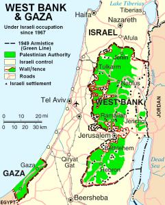 KONFLIKTENS KARTA. Läget på Västbanken och Gaza 2007.