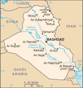 SLITS SÖNDER. Verklighetens Irak är långt från den ordnade kartbilden. Wikimedia/CIA.