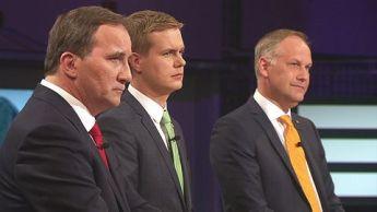TRE SOM FÖRHANDLAR. Löfven, Fridolin och Sjöstedt i SVT-debatt (svt.se)