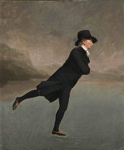 """SPORTLOVSAKTIVITET? Fler bör få chansen att glida fram på isen, som """"The Skating Minister"""" på Henry Raeburns målning från 1790-talet (bildkälla: Wikimedia)."""