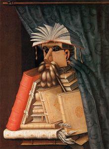 BOKKONST. Bibliotekarien av Arcimboldo, Skokloster (Wikimedia).