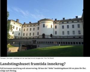 SOLSIDAN. Landstingshusets terrass borde utnyttjas bättre, tycker jag. Bild och rubrik från stockholmdirekt.se (foto Per Brandt, text Andreas Jennische).