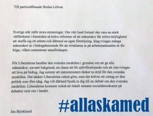 #allaskamed - Jan Björklunds debattutmaning om den svenska modellen.