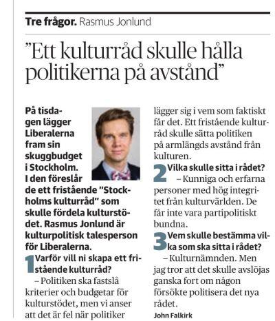DN Kultur 25 oktober 2016.